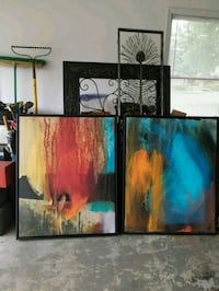 Two black, orange and blue abstract paintings Huntsville, 35806