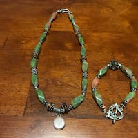 green and black necklace and bracelet set