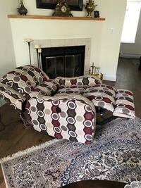 white, gray, red, and black polka-dot recliner chair Richmond