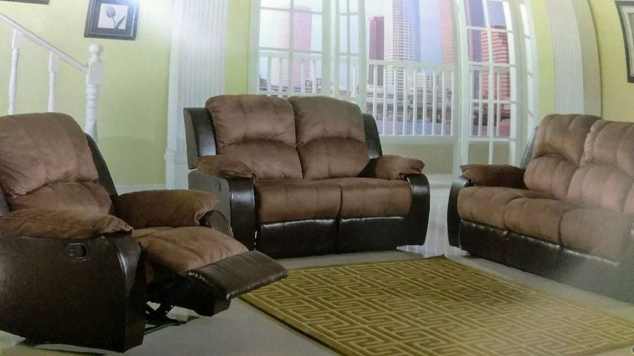 Brown And Black Micro Suede Couch And Loveseat