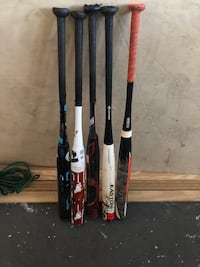 From left to right.  They are all in great shape plenty of life left in them I just don't swing them anymore.  26oz Demarini one $100 obo  26oz Demarini aftermath $100 obo 27oz worth legit Greg Connell $100 obo  26oz Easton L6 $100 obo  26oz Easton realtr Saint Petersburg, 33710