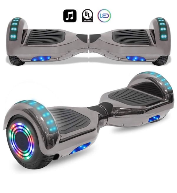 Chrome Electric Smart balancing Hoverboard LED lights 9cc694dc-a6a1-43a1-8894-6f1b6fc8aed0
