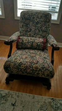 brown wooden framed gray and red floral padded armchair Vaughan, L4L 2S7