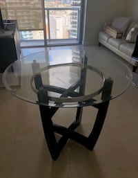 Round glass barstool table