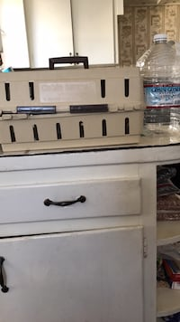 white and black tool chest