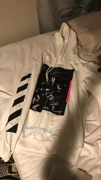 white and black pull-over hoodie