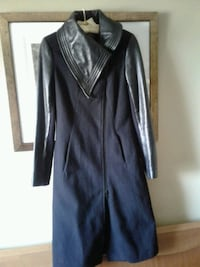 Danier black wool and leather coat. Size UK 8-10 I Toronto, M2R