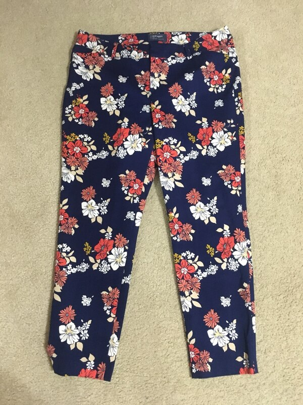 blue and red floral pants