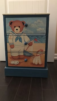 blue and brown wooden bear print drawer