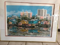 brown wooden framed painting of house San Juan, 00926