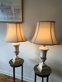 Relocation SALE: gorgeous identical Paul Bennett porcelain lamps Olney