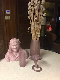 Four decorative items, three vases and one bust