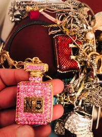 Gold and Pink Perfume Bottle Number 5 Keychain.  Lanham, 20706