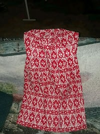 red and white floral spaghetti strap dress
