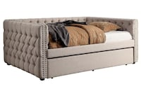 Brand New Suzanne Ivory Fabric Twin Daybed w/ Trundle by Furniture of America Лос-Анджелес