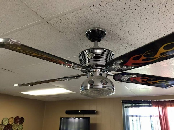 Used harley davidson ceiling fan with light fixt for sale in harley davidson ceiling fan with light fixt aloadofball Images