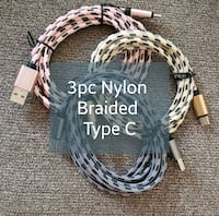 3pc 6ft Nylon Braided Charging Cable- Type C Great Mills, 20634