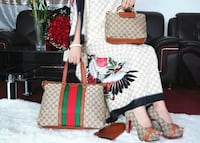 white and red floral tote bag Toronto, M6M 3A9
