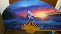 blue ocean and dolphin fan painting Long Beach, 90808