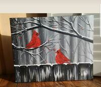 20x16 inches cardinal oil painting