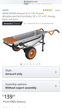 "NEW WORX WG050 Aerocart 8-in-1 All-Purpose Wheelbarrow/Yard Cart/Dolly, 18"" x 12"" x 42"" Springfield"