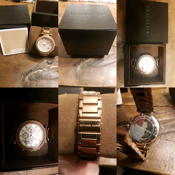 round gold-colored MK chronograph watch collage