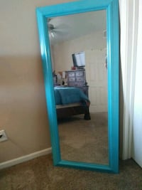 blue wooden framed wall mirror 2064 mi