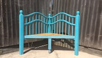 Blue wooden bed frame corner bench The Colony, 75056