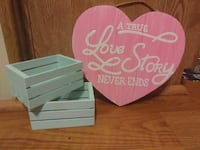 pink and white A True Love Story Never Ends printed heart wooden decor Silver Springs, 34488