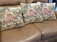 "3 cushions 14"" square antique scene  Toronto, M4A 1S4"