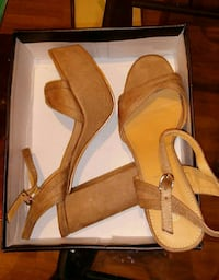 brown-and-beige open-toe ankle-strap heels with box