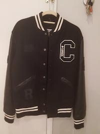 Roots Leather Varsity Jacket (New, Large, Black) TORONTO