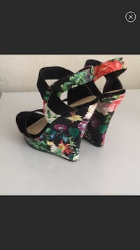 black, green, and pink floral wedge sandals Saint Petersburg, 33716