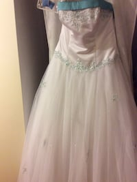 Women's white and teal studded bridal gown Cambridge