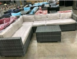 ???????????? Outdoor Sectional patio set in beige cushion 7 pc
