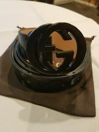 black Gucci leather belt with box
