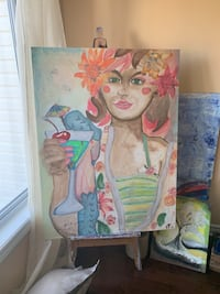 One of a kind painting made from scratch lady with a drink Ottawa, K4A 0J4