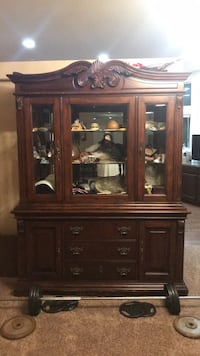 brown wooden china cabinet with cabinet Temecula, 92592