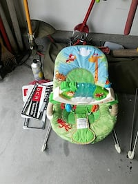 green and multi-colored Rainforest bouncer