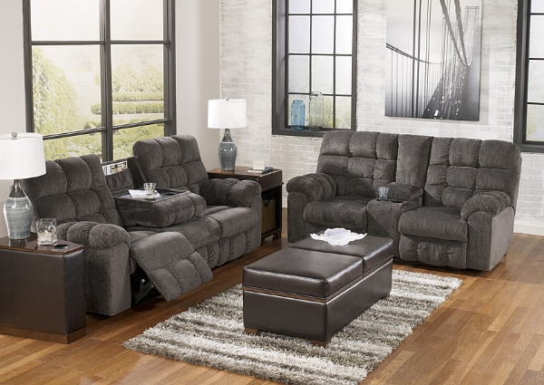 Used Acieona Slate Reclining Sofa And Loveseat Set For Sale In