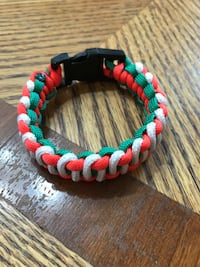 Yellow, green, and red beaded bracelet