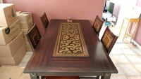 rectangular brown wooden table with six chairs dining set Farnham, J2N 2H6