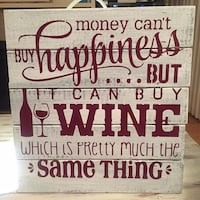 """Wine wooden sign 12"""" by 12"""" home decore discount purchased more then one  New Westminster"""