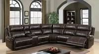 Stella Brown Leather Gel Reclining Sectional | 101 Houston