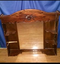 Large headboard dresser topper with mirror and shelves solid wood