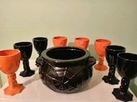 Halloween punch bowl and 8 cups ceramic Hagerstown, 21740