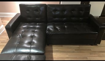 FREE DELIVERY- DARK BROWN LEATHER SECTIONAL COUCH +OTTOMAN -GREAT COND