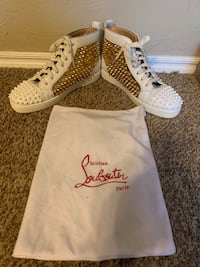 Christian Louboutin white calfskin with Gold/white Spikes