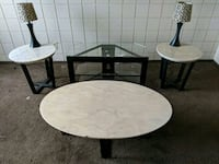 Table & End tables /w lamps and glass TV stand