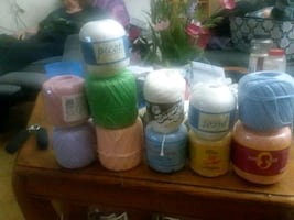 11 peices of crochet cotton yarn